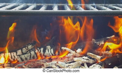Fire woods and hot coal in a grill