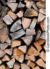 Close up of fire woods, texture background