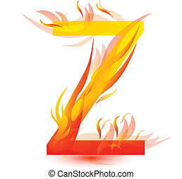 Fire Z letter image design vector