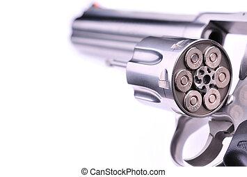 firearm - loaded handgun isolated on white