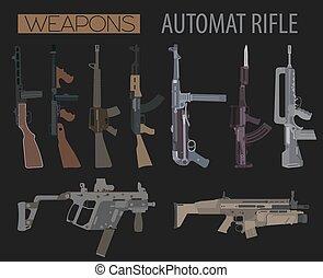 Firearm set. Automatic rifle, machine gun. Flat design....
