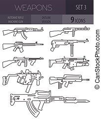 Firearm set. Automatic rifle, machine gun. Outline linear...