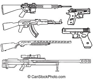 Firearms - Automatic and semi-automatic fire-arms. A set of...