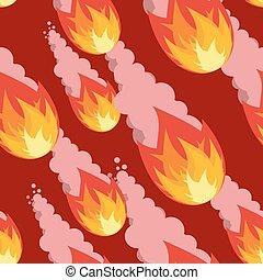 fireball, ardent, météore, interminable, pattern., ornament., comète, seamless, fond, texture., douche, rouges, destruction
