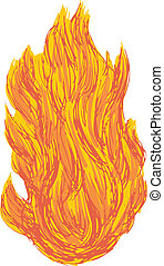 fireball - hand drawn, cartoon, sketch illustration of fire