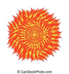 Fireball on a white background. Circle of flame. Vector illustration of   elements of nature.