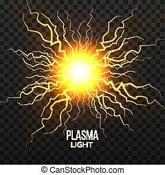 Fireball Plasma Vector. Lightning Effect. Magic Explosion. Voltage Sphere. Realistic Isolated Transparent Illustration