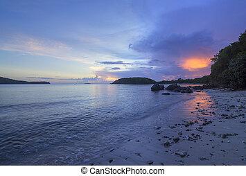 Fireball sunset in Caribbean