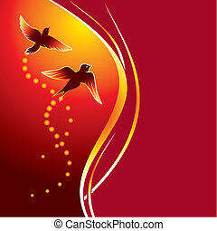 Two birds flying at abstract glowing background
