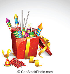 Firecracker in Gift Box - illustration of colorful...