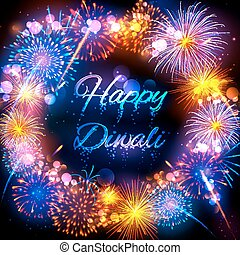Firecracker on Happy Diwali Holiday background for light festival of India