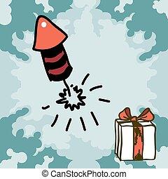 Firecracker rocket doodles