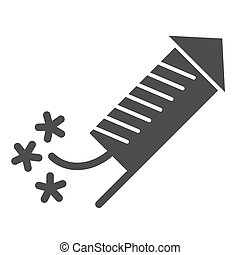Firecracker solid icon. Christmas firework vector illustration isolated on white. Firework rocket glyph style design, designed for web and app. Eps 10.