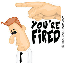 Fired cartoon character