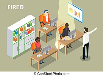 Fired concept vector isometric illustration