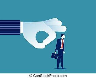 Fired. Manager flicking businessman off team. Concept business vector illustration.
