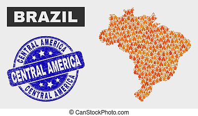 Fired Mosaic Brazil Map and Grunge Central America Watermark