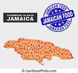 Fired Mosaic Jamaica Map and Distress Jamaican Food Stamp Seal