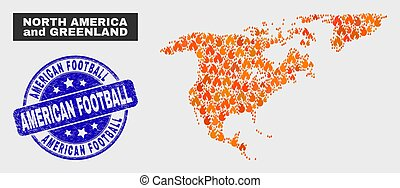 Fired Mosaic North America and Greenland Map and Grunge American Football Stamp