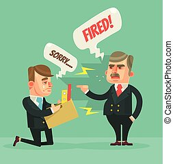 Fired office worker. Angry boss character. Vector flat cartoon illustration