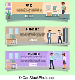 Fired people vector web banner template set