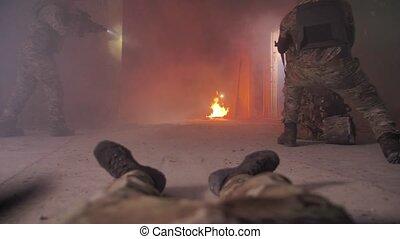 firefight, soldat, évacuation, blessé, pendant