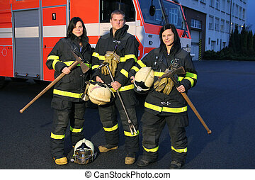 Firefighter and girls