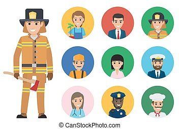 Firefighter and Set of People of Different Jobs