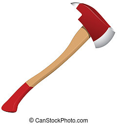 firefighter axe against white background, abstract vector ...