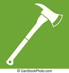 Firefighter axe icon green