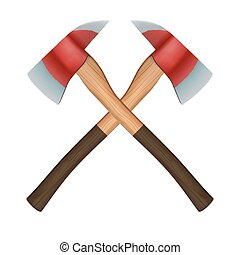 Crossed classic firefighter axes. Vector Illustration isolated on white background