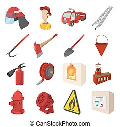 Firefighter cartoon icons set