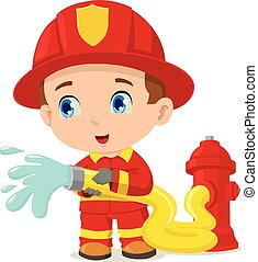 Firefighter - Cartoon illustration of a firefighter