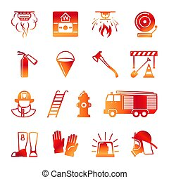 Firefighter colorful icons