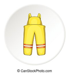 Firefighter costume icon, cartoon style