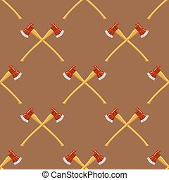 Firefighter Cross Axes Seamless Pattern