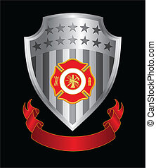 Firefighter Cross Shield - Illustration of a fire department...
