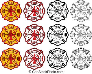 Illustration of three slightly different firefighter or fire department Maltese Cross symbols. Each is presented in four styles of color.
