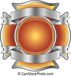 Firefighter Cross with Ribbons - Illustration of a...