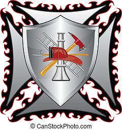 Firefighter Cross With Shield - Illustration of a fire ...