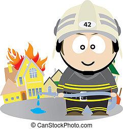 Firefighter. Vector illustration for you design