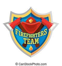 Firefighter emblem label badge and logo on white background