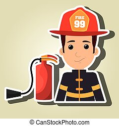firefighter extinguisher protective vector illustration ...