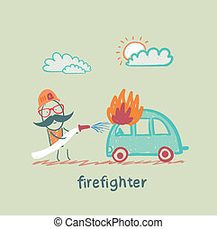 firefighter extinguishes a car