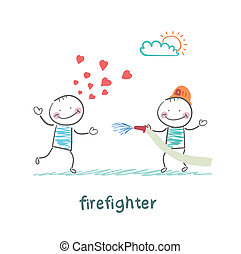 firefighter extinguishes a girl who fell in love