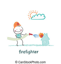 firefighter extinguishes a house
