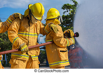 Firefighter fighting For A Fire Attack