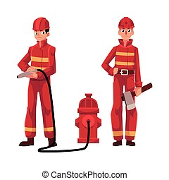 Firefighter, fireman in red protective suit holding fire hose, axe