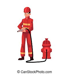 Firefighter, fireman in red protective suit holding fire hose, hydrant