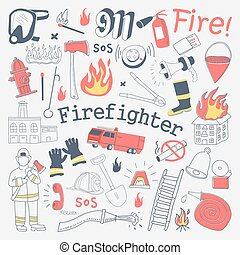 Firefighter Freehand Doodle. Fireman with extinguisher and...